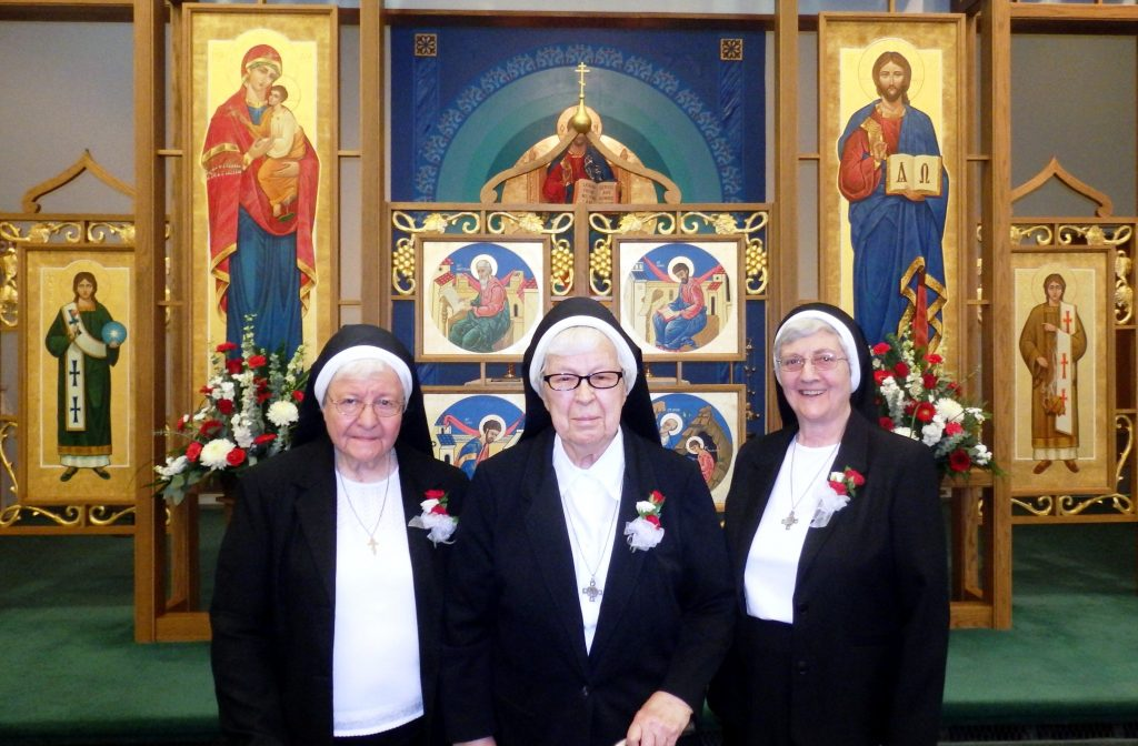 Sr.  Monica, Sr. Christoper and Sr. Agnes celebrate their Jubilees. Absent from the photo is Sr. Gertrude.