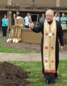Archbishop William Skurla, the Metropolitan Archbishop for the Byzantine Catholic Metropolia of Pittsburgh blessing ground during the ceremonies.