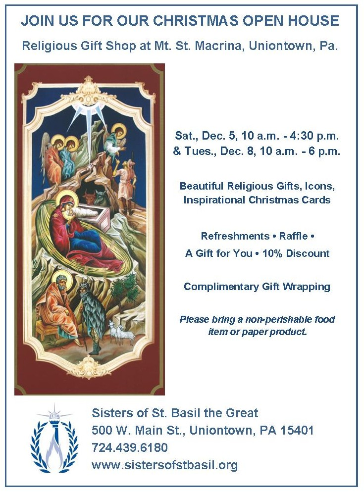 Mount St. Macrina Gift Shop Christmas Open House | Sisters of St. Basil