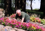 Planting flowers at Lourdes