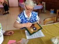 Sr. Barbara brushing gold leaf